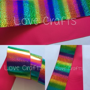 "3"" Rainbow Shizzle on Shocking Pink Grosgain Ribbon"