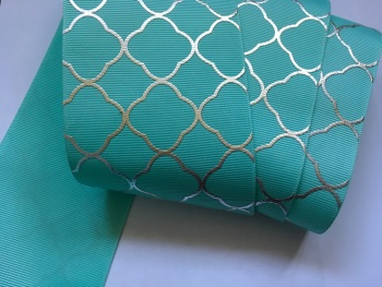"3"" Silver Laser Pattern on Aqua Grosgain Ribbon"