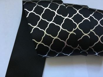 """3"""" Silver Laser Pattern on Black Grosgain Ribbon"""