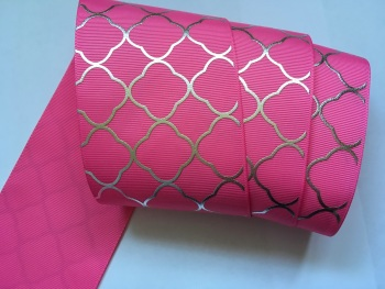 "3"" Silver Laser Pattern on Hot Pink Grosgain Ribbon"