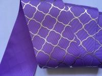 "3"" Silver Laser Pattern on Hyacinth Grosgain Ribbon"