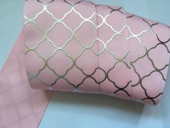 """3"""" Silver Laser Pattern on Pearl Pink Grosgain Ribbon"""