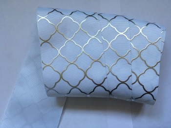 "3"" Silver Laser Pattern on White Grosgain Ribbon"
