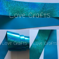 "3"" Turquoise Shizzle on Turquoise Grosgain Ribbon"