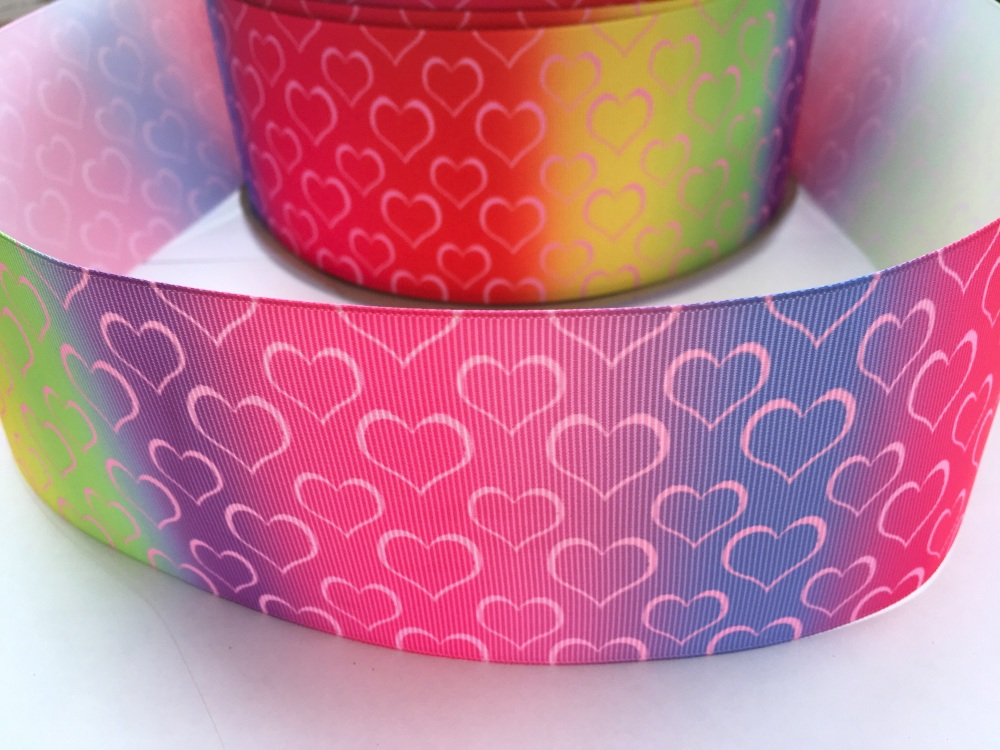 Ombre Hearts Grosgrain Ribbon
