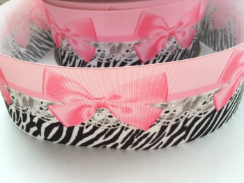 Pink Bow Zebra Grosgrain Ribbon