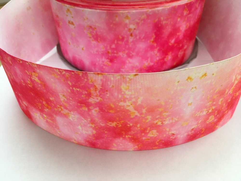 Pink/Gold Pattern Grosgrain Ribbon