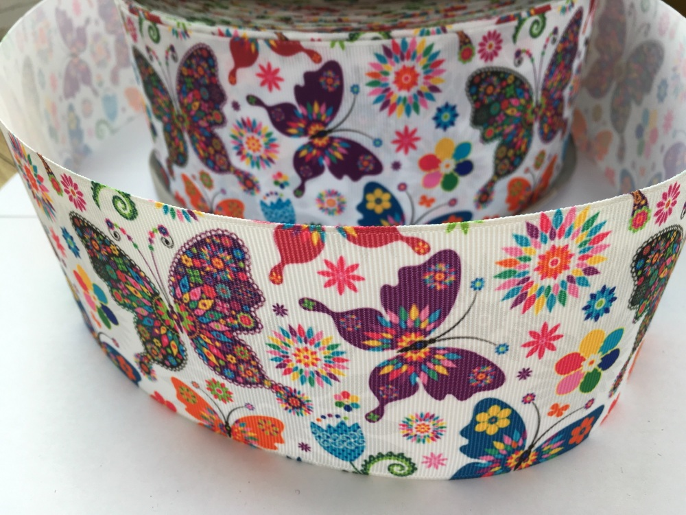 Rainbow Butterflies Grosgrain Ribbon