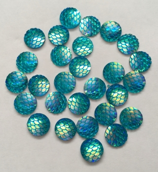 10 Aqua Mermaid Scale Flatbacks