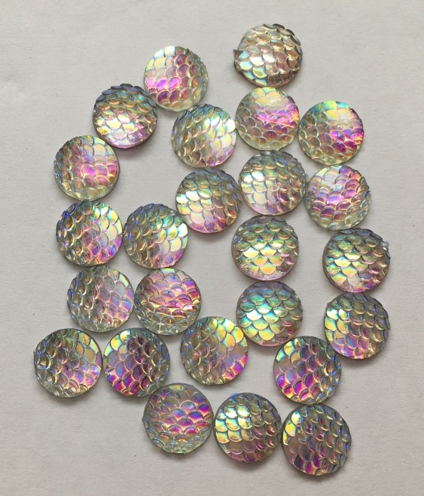 10 Clear Mermaid Scale Flatbacks
