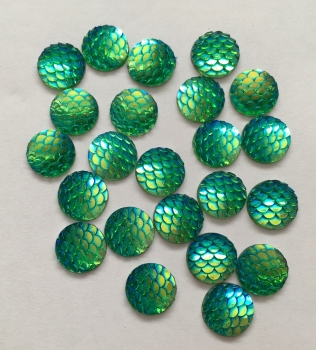 10 Green Mermaid Scale Flatbacks