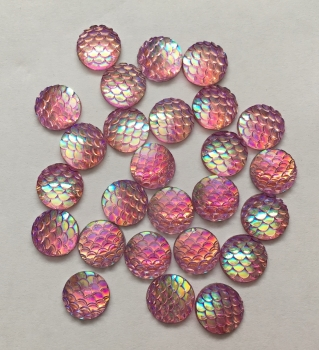 10 Pink Mermaid Scale Flatbacks