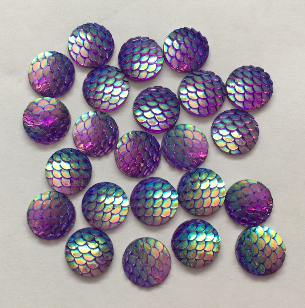 10 Purple Mermaid Scale Flatbacks