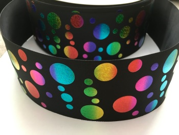 "3"" Rainbow Laser Dots on Black Grosgrain Ribbon"