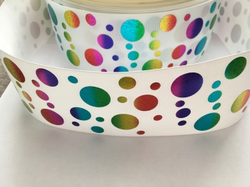 "3"" Rainbow Laser Dots on White Grosgrain Ribbon"