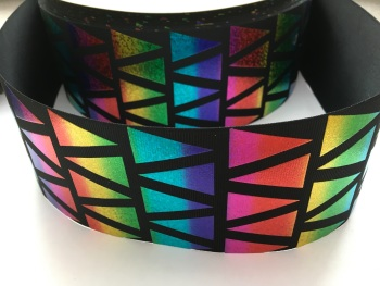 "3"" Rainbow Laser Triangles on Black Grosgrain Ribbon"