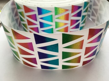 "3"" Rainbow Laser Triangles on White Grosgrain Ribbon"
