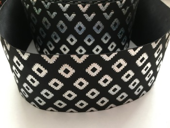 "3"" Silver Laser Aztec on Black Grosgrain Ribbon"