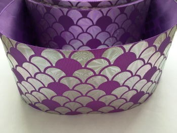 "3"" Silver Laser Scale on Hyacinth Grosgrain Ribbon"