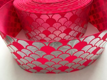 "3"" Silver Laser Scale on Shocking Pink Grosgrain Ribbon"