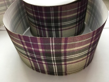 Purple/Grey Tartan Grosgrain Ribbon