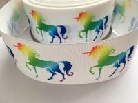 White Rainbow Unicorn Grosgrain Ribbon