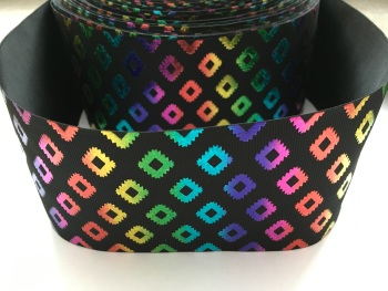"3"" Rainbow Laser Aztec on Black Grosgrain Ribbon"