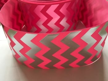 "3"" Silver Laser Chevron on Hot Pink Grosgrain Ribbon"