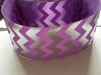 "3"" Silver Laser Chevron on Hyacinth Grosgrain Ribbon"