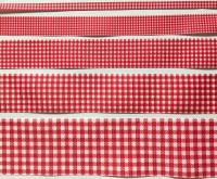 Bright Red Gingham Check Grosgrain Ribbon