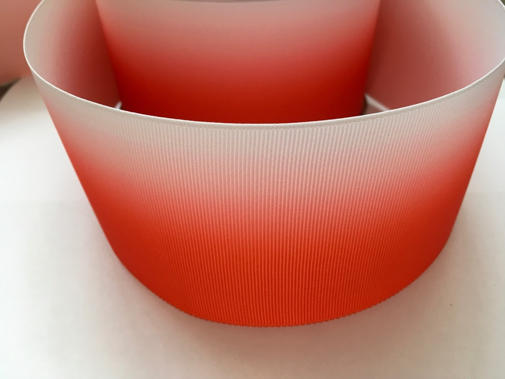 Bright Red Ombre Grosgrain Ribbon