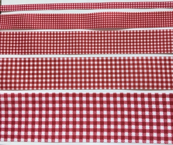 Deep Red/Wine Gingham Check Grosgrain Ribbon