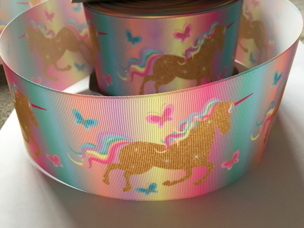 Gold Pastel Rainbow Unicorn Grosgrain Ribbon