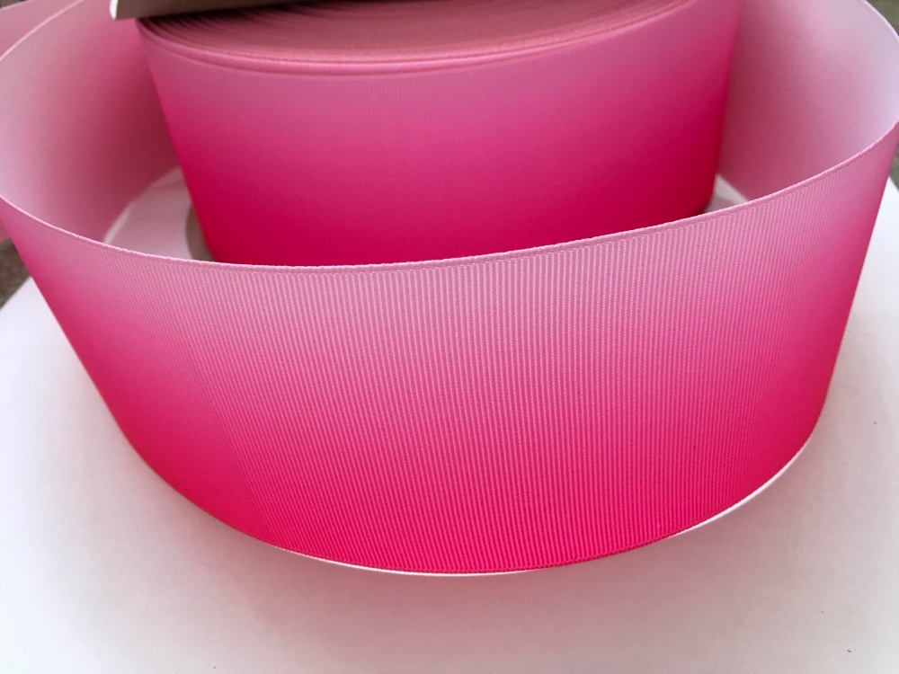 Hot Pink/Light Pink Ombre Grosgrain Ribbon