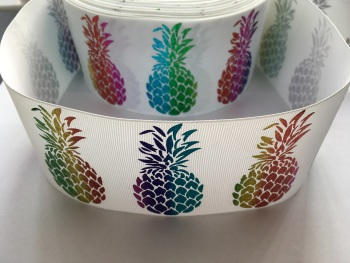 "3"" Rainbow Laser Pineapples on White Grosgrain Ribbon"