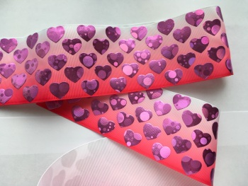 "3"" Pink Laser Hearts on Pink Ombre Grosgrain Ribbon"