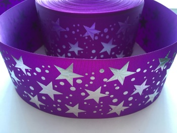 "3"" Silver Laser Stars on Purple Grosgrain Ribbon"