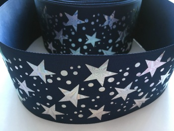 "3"" Silver Laser Stars on Navy Grosgrain Ribbon"