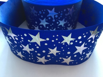 "3"" Silver Laser Stars on Cobalt Grosgrain Ribbon"