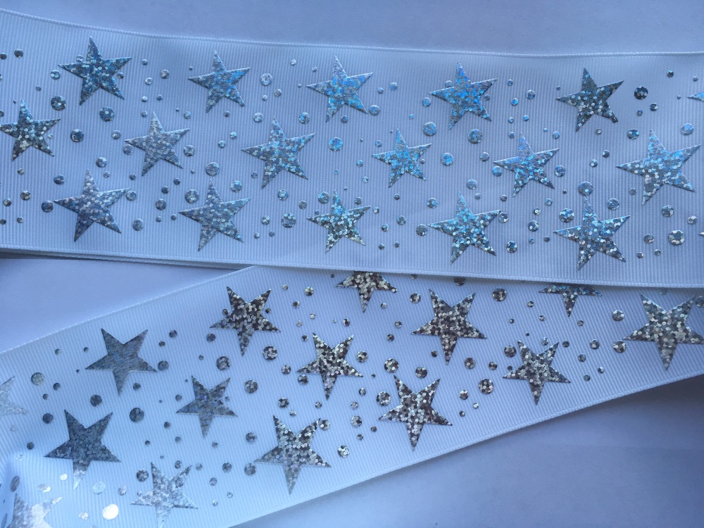 Silver Laser Stars on White Grosgrain Ribbon