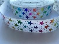 """1.5"""" Colourful Laser Stars on White Grosgrain Ribbon"""