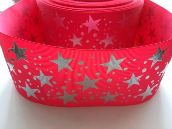 "3"" Silver Laser Stars on Shocking Pink Grosgrain Ribbon"