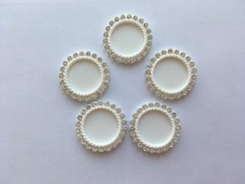 White Plastic Rhinestone Cap