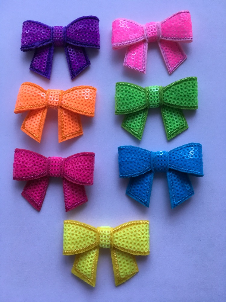 Medium Neon Sequin Bow with Tail