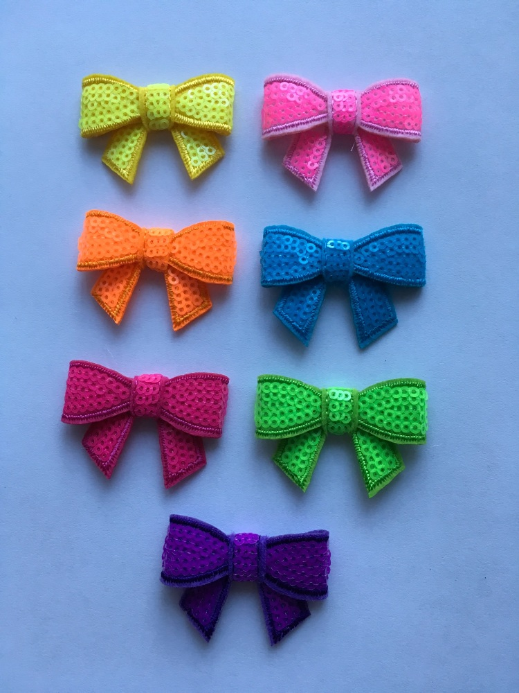 Small Neon Sequin Bow