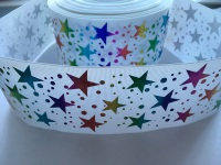 "3"" Colourful Laser Stars on White Grosgrain Ribbon"