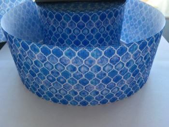 Blue Honeycomb Grosgrain Ribbon