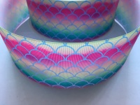 Blue Scale on Ombre Grosgrain Ribbon
