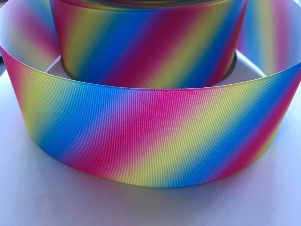 Bright Diagonal Ombre Grosgrain Ribbon
