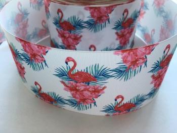 Floral Flamingo Grosgrain Ribbon